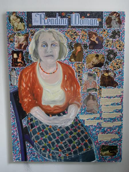 1. Pauline The Reading Woman mixed media 4 ft x 3 ft