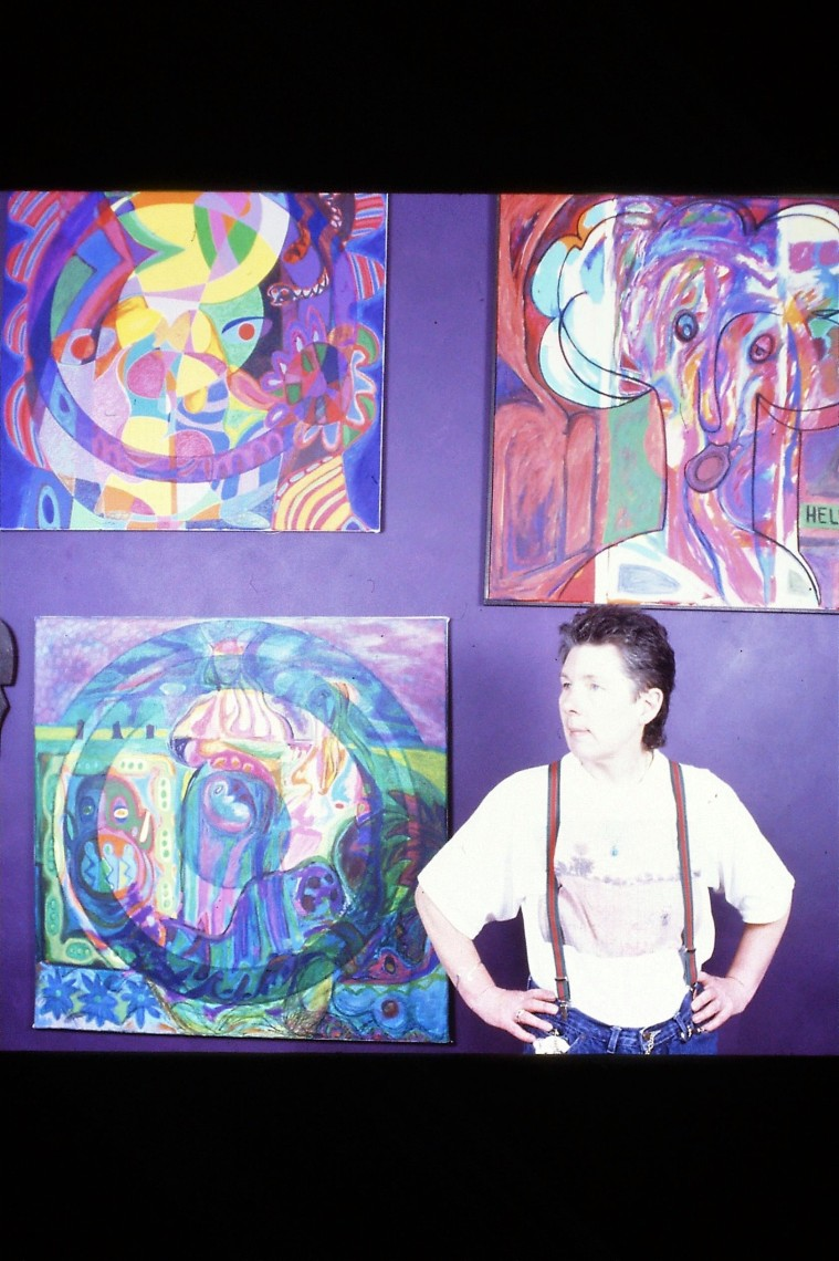 Suzanne with paintings